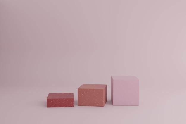 Leeg showcasemodel met eenvoudige geometrische elementen