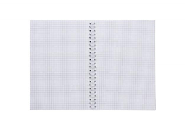Leeg spiraalvormig wit vierkant notitieboekje, document dat op witte achtergrond wordt geïsoleerd.