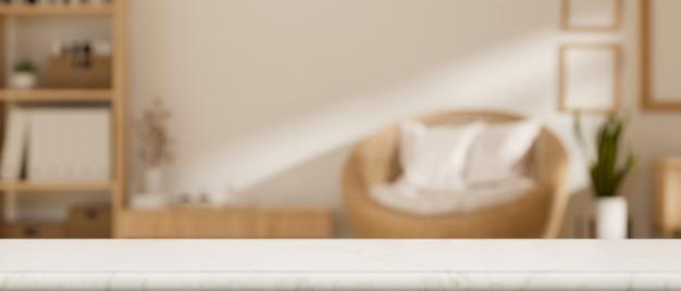 Leeg tafelblad voor montage op wazig moderne minimalistische scandinavische woonkamer achtergrond 3d