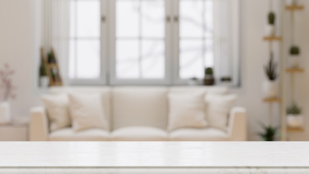 Leeg tafelblad voor montage over vage moderne comfortabele witte woonkamer background3d rendering