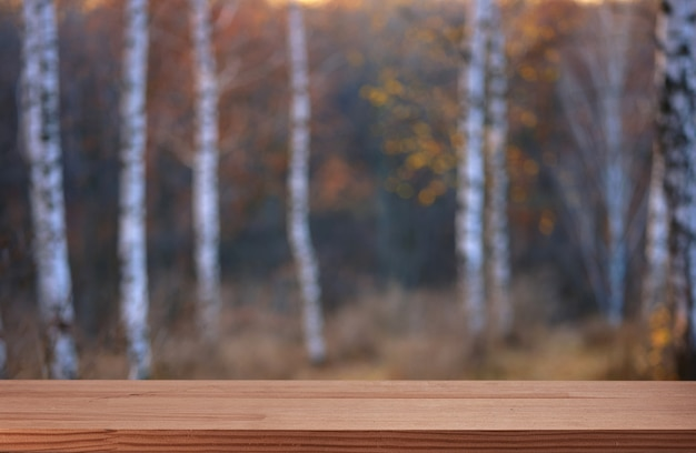 Leeg tafelblad voor productpresentatie in herfstpark