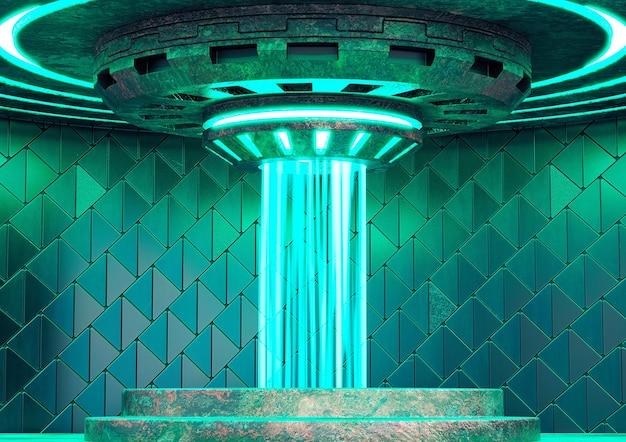 Leeg teleportstation op ruimteschip. futuristisch sciencefictionconcept. 3d illustratie