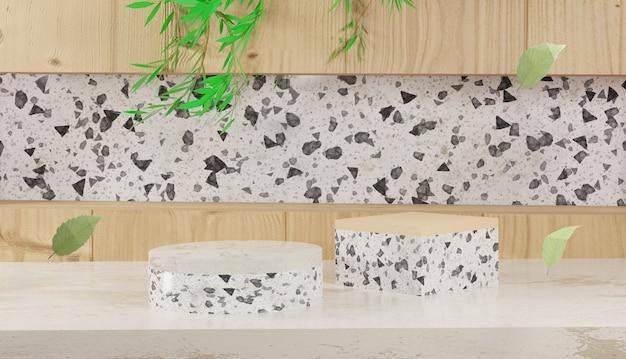 Leeg terrazzo podium met bladeren en houten achtergrond 3d-rendering lente en herfst