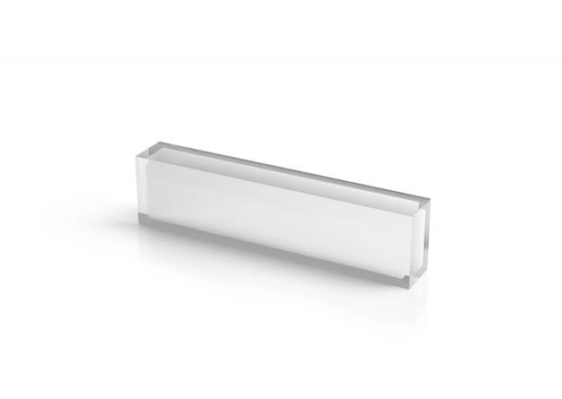 Leeg transparant glazen bureaublokmodel