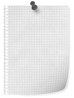 Leeg vel papier uit een notitieboekje met punaise