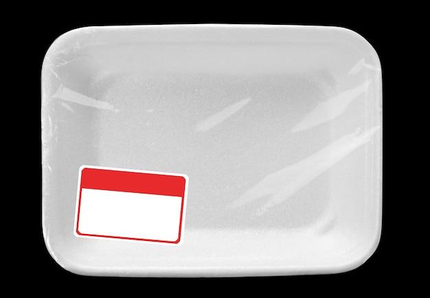 Leeg voedseldienblad met etiket
