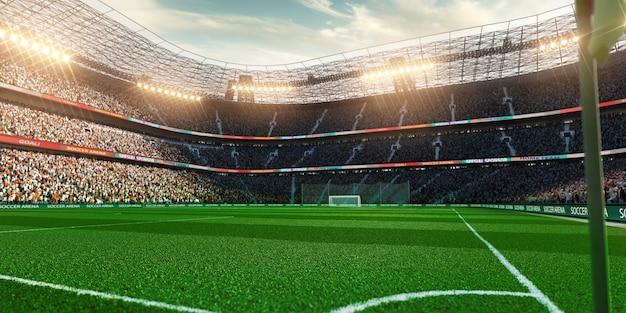 Leeg voetbalstadion met fans in het avondlicht