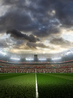 Leeg voetbalstadion met fans