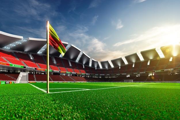 Leeg voetbalstadion zonder fans in het avondlicht