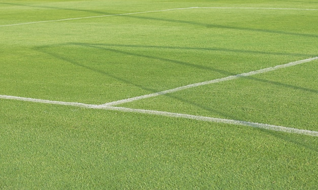 Leeg voetbalvoetbalveld met witte tekens, groene grastextuur.