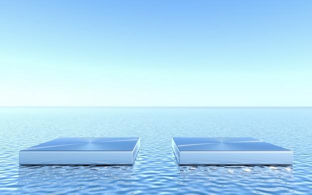 Leeg voetstuk op waterachtergrond. abstracte minimale geometrische. 3d-rendering