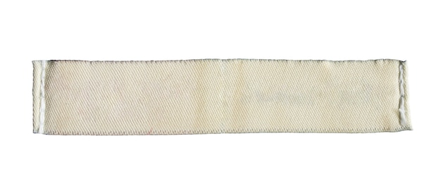 Leeg wasgoed zorg kleding label geïsoleerd op een witte achtergrond