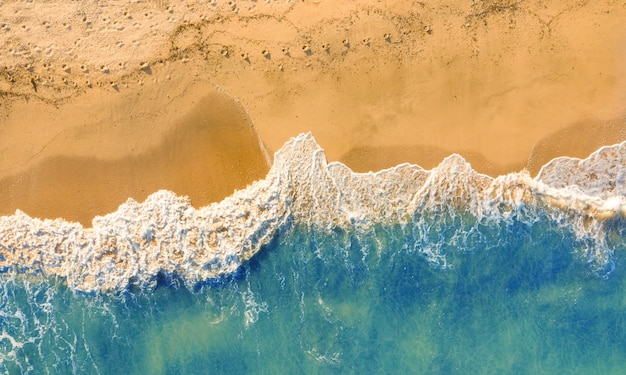 Leeg wild strand met goudkleurig zand en blauw water