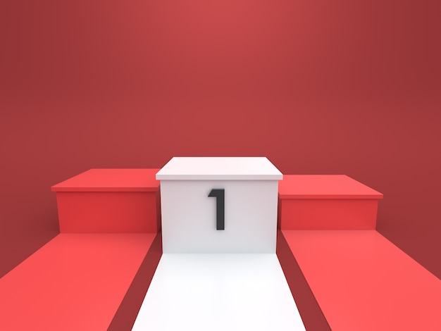 Leeg winnaarspodium op rode achtergrond. 3d-rendering.