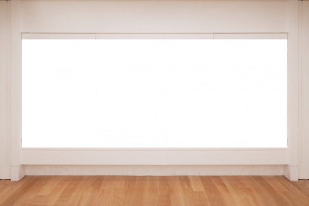 Leeg wit exemplaar ruimtekader op de muur