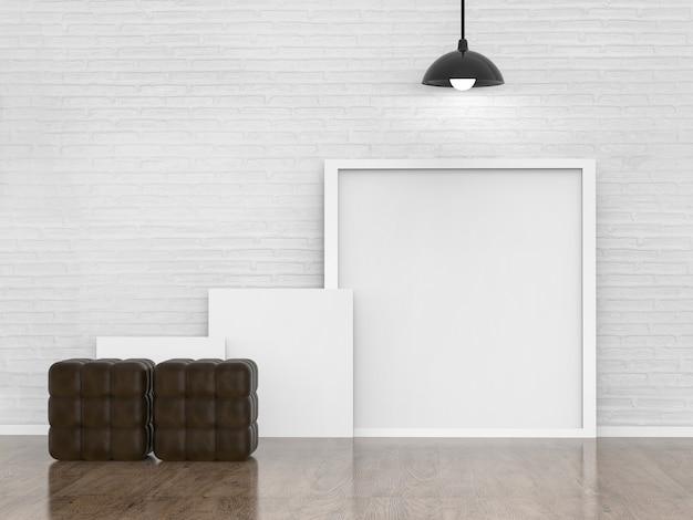 Leeg wit frame in woonruimte