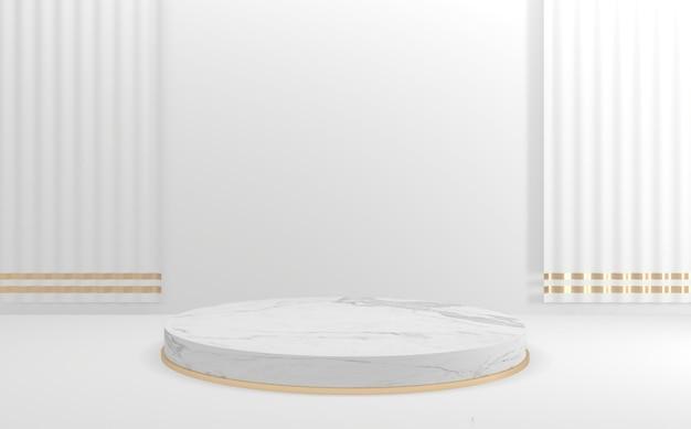 Leeg wit geometrisch stijlpodium. 3d-weergave