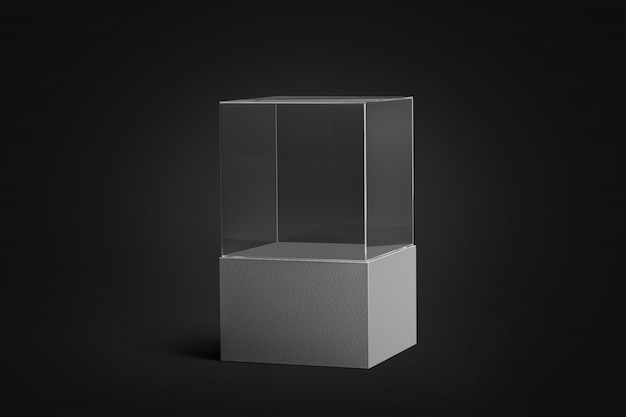 Leeg wit glas showcase mockup