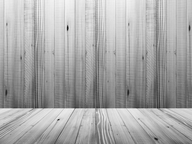 Leeg wit houten zaal binnenland