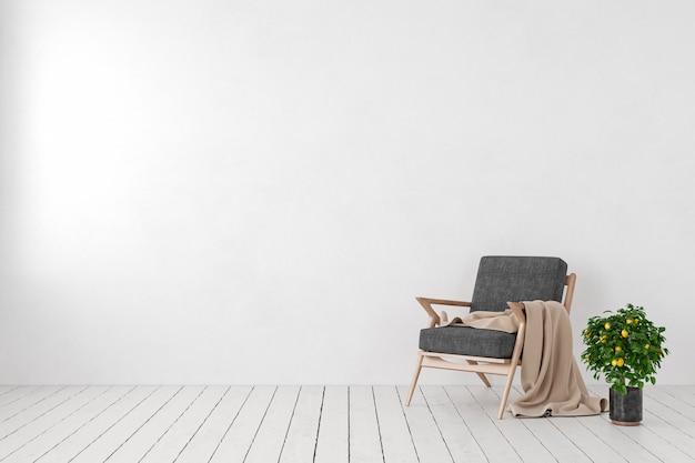 Leeg wit interieur, lege muur met lounge fauteuil, citroenboom plant. 3d render illustratie mockup.