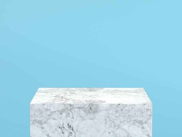Leeg wit marmeren podium op achtergrond van de pastelkleur de blauwe kleur