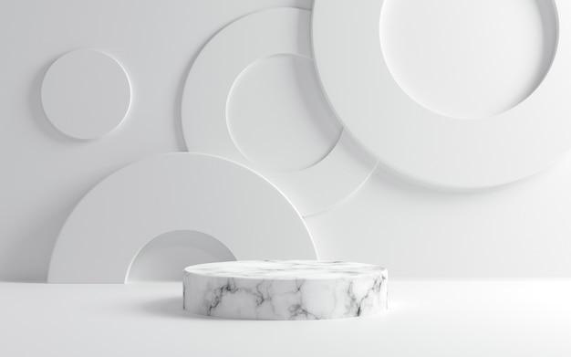 Leeg wit marmeren podium op witte achtergrond
