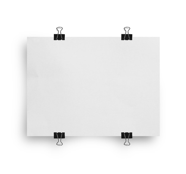 Leeg wit presentatiebord of tekenmodel dat op witte achtergrond wordt geïsoleerd