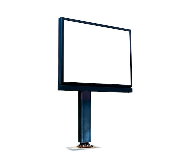 Leeg wit reclamebord dat op witte achtergrond wordt geïsoleerd. bestand bevat met uitknippad zo gemakkelijk om te werken.