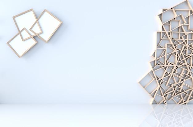 Leeg wit ruimtedecor met houten plankenmuur