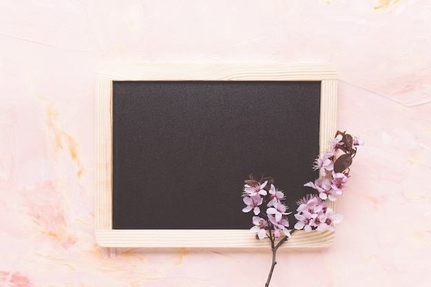 Leeg zwart bord en verse lentebloemen op lichtroze achtergrond