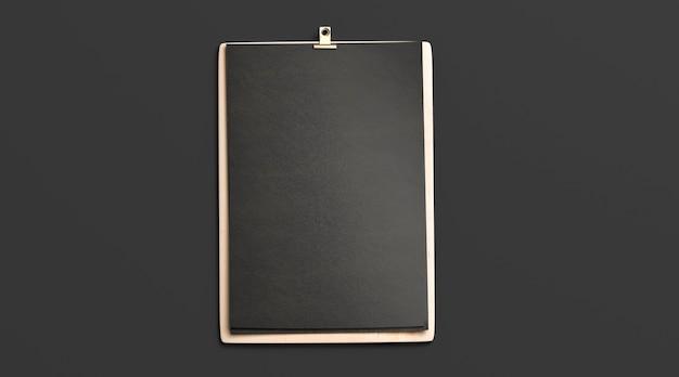 Leeg zwart cafémenu, houten plankmodel