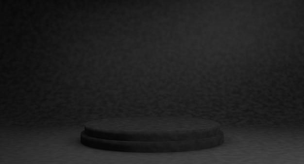 Leeg zwart podium voor weergaveproduct. 3d-weergave. Premium Foto