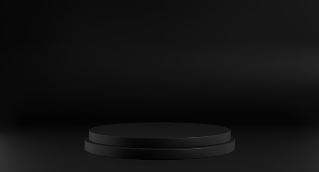 Leeg zwart podium voor weergaveproduct. 3d-weergave.