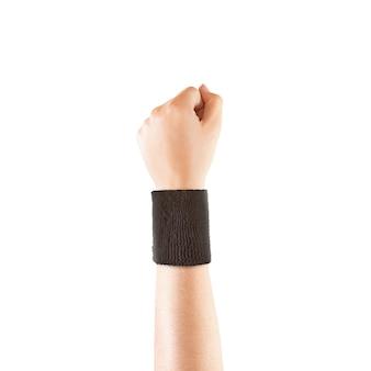 Leeg zwart polsbandje mockup bij de hand, geïsoleerd