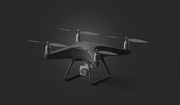 Leeg zwart quadcoptermodel, tribune die op donkere achtergrond wordt geïsoleerd