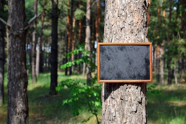 Leeg zwart schoolbord hangt aan de kofferbak