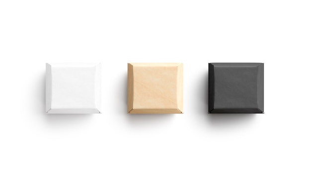 Leeg zwart wit en ambachtelijke hamburgerdoos mockup 3d-rendering lege vierkante sandwichcontainer mockup