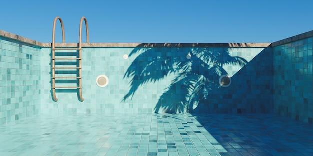 Leeg zwembad met roestige trappen en tegelvloer