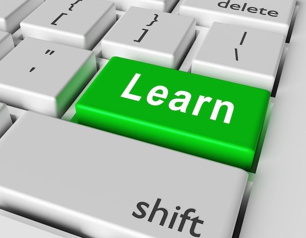Leer concept. word leert op knoop van computertoetsenbord.