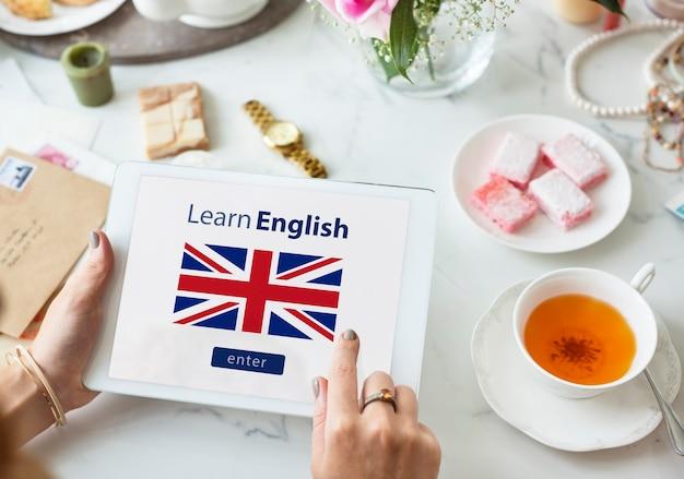 Leer engels taal online onderwijs concept