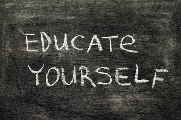 Leer jezelf zin handgeschreven op schoolbord