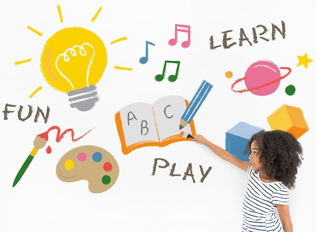 Leer leuk spelen educatief icoon