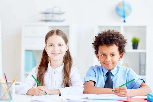 Leerlingen bij les