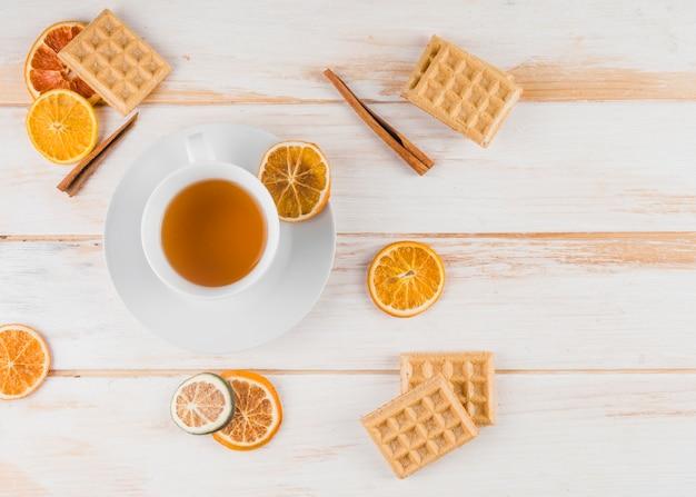 Leg de samenstelling van de thee plat