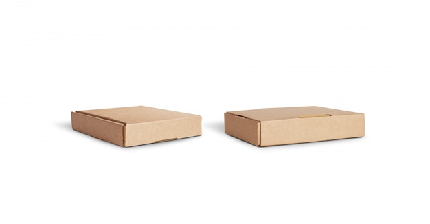 Lege ambachtelijke accessoire doos mock up liggend geïsoleerd, verschillende kanten