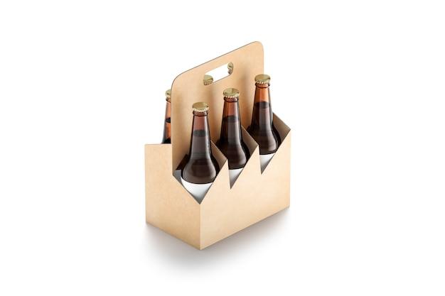 Lege ambachtelijke glazen bierfles kartonnen houder mock up lege uit lade of koffer voor drank mockup