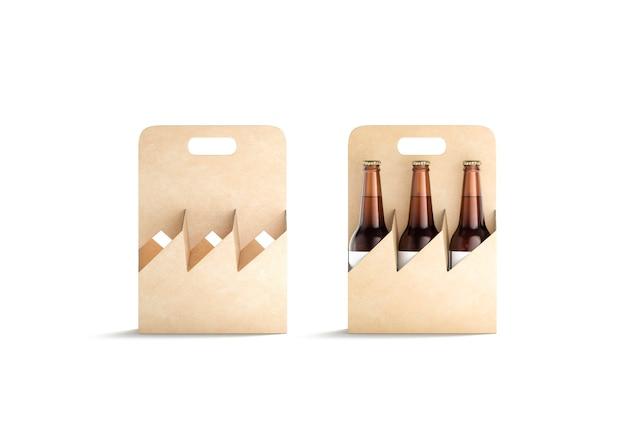 Lege ambachtelijke glazen bierfles kartonnen houder mockup lege take-out alcohol lade mock up geïsoleerd