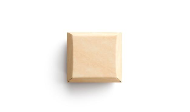 Lege ambachtelijke hamburgerdoos mock-up geïsoleerde lege kraft vierkante papieren container voor lunchmodel mock
