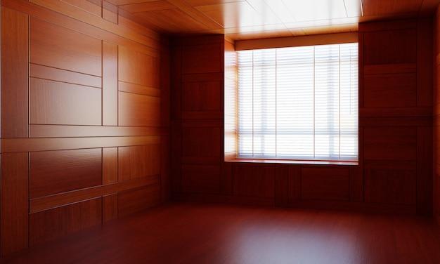 Lege aziatische stijl houten kamer met raam Premium Foto