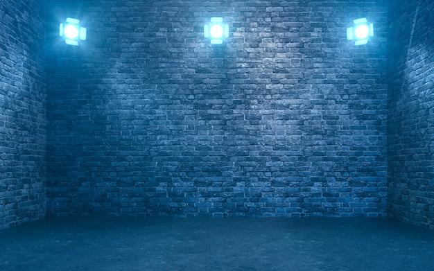 Lege bakstenen muur met schijnwerpers. 3d-rendering